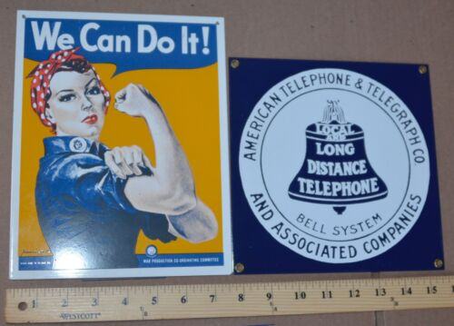 """lot of (2) Ande Rooney Enameled Porcelain Ad Sign """"Bell System"""" / """"We Can Do It"""""""