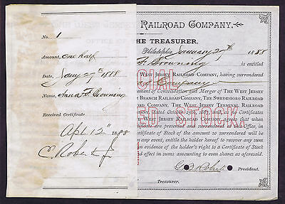 THE WEST JERSEY RAILROAD COMPANY SHARE CERTIFICATE NUMBER 1 (ONE) DATED 1888
