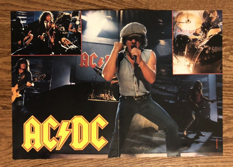 Original AC/DC Magazine Pin-Up Poster 1988 Angus Young Brian Johnson Vintage 80s