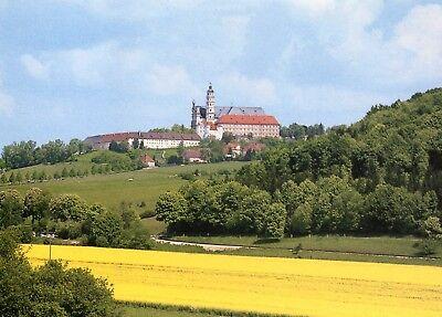 Alte Postkarte - Abtei Neresheim - Blick von Südwesten auf die Klosteranlage