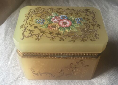 Antique French Floral Enameled Opaline Glass & Ormolu Hinged Casket,Jewelry Box