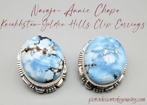 Navajo-ANNIE CHAPO-Small Kazakhstan Golden Hills Turquoise-925 CLIP Earrings