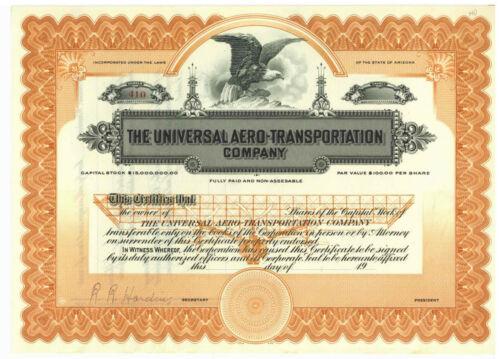 Universal Aero- Transportation Company. Stock Certificate. Arizona