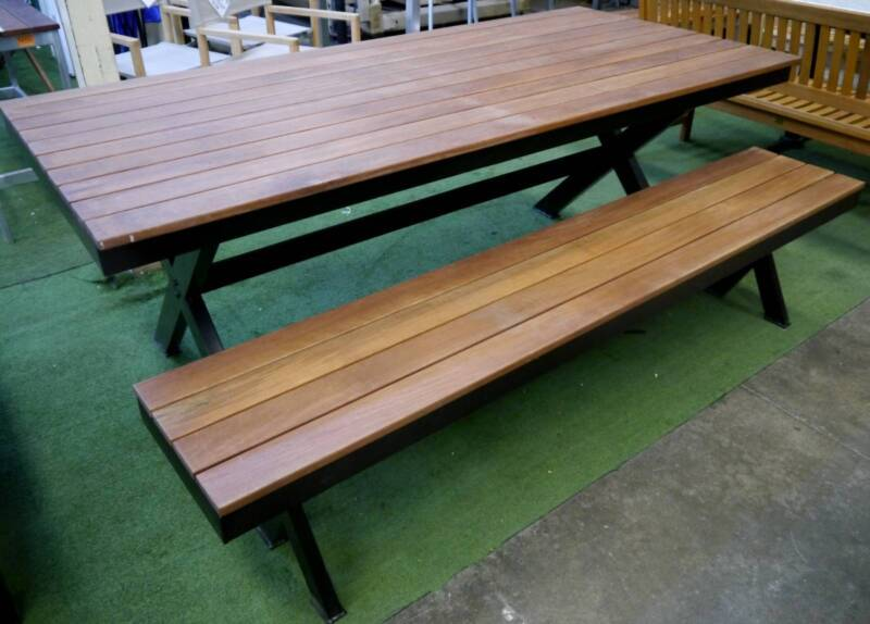New Cross Base Black Timber Table Bench Seat Outdoor Furniture