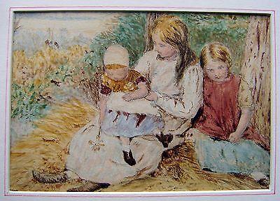 GENRE THREE CHILDREN ON A GRASSY BANK AFTER BIRKET FOSTER W/COL BRISSOM 1908