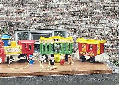 Fisher Price Little People Circus Train #991 Clown & Animals With Pull Cord