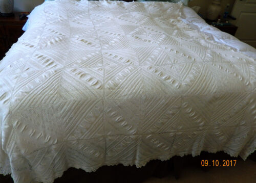 Antique American Farm House Crocheted  Bed Cover Heirloom Ivory/ Date 1890-1900