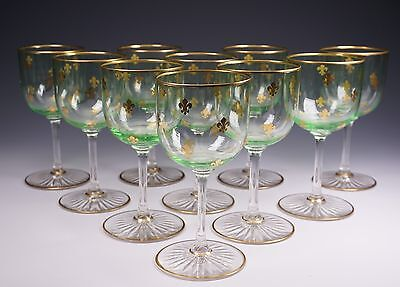 10 Green Bowl Clear Stem Gold Fleur-de-Lis French Glass Cordials Stems