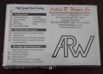 Ar Warner  - High Speed Tooling - Kit 8 - 38 For Mini Lathe