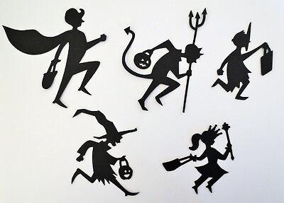 Halloween Silhouette Trick Or Treaters Die Cuts Handmade Cardstock Scrapbook (Silhouette Halloween)
