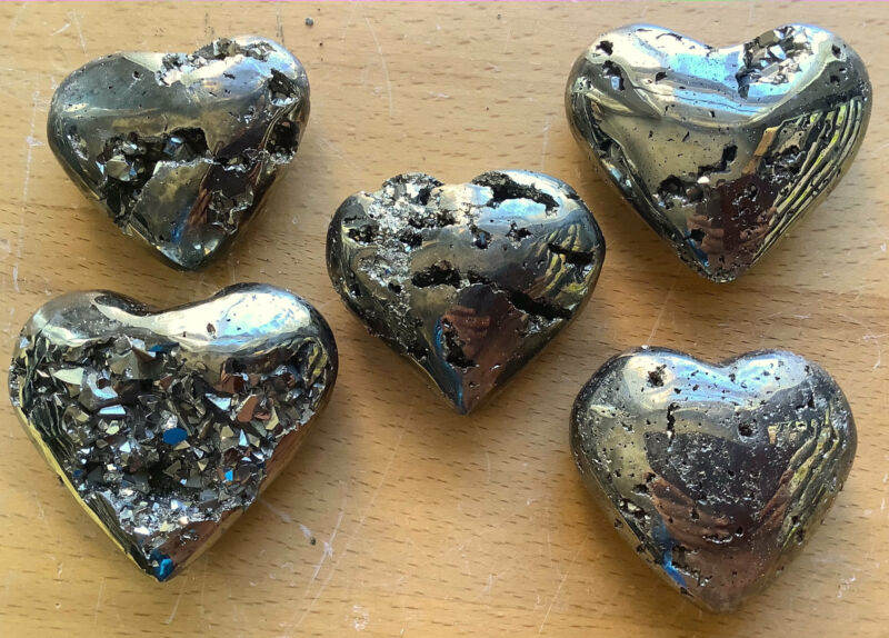 Wholesale Bulk Lot 5 Pack Of Iron Pyrite Druzy Puffy Heart Carved Crystal Art