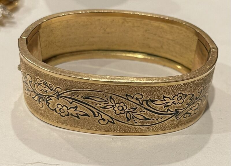 Antique Victorian Gold Filled Enamel Bangle Bracelet