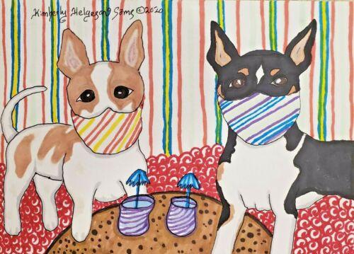 Rat Terrier in Quarantine Masks 5 x 7 Dog Pop Art Print Signed by Artist KSams