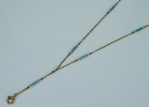 Art Deco 14K Blue Enamel Bar Link Drop Y Station Necklace Chain Antique Vintage