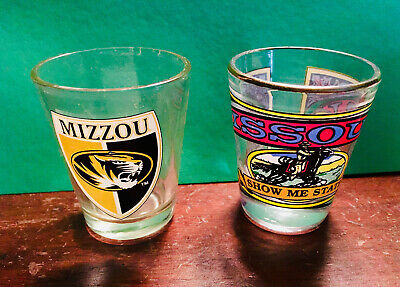 Used, 2 Missouri Shot Glasses, Mizzou Tiger and Show Me State for sale  West Sand Lake