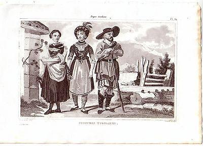Österreich Tiroler Trachten Kostüme Orig Stahlstich 1850 - Stahl Kostüme