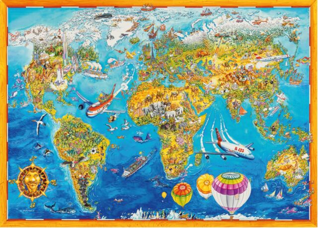 1000 Piece Comic Collection Jigsaw Puzzle  - WORLD MAP (05135)