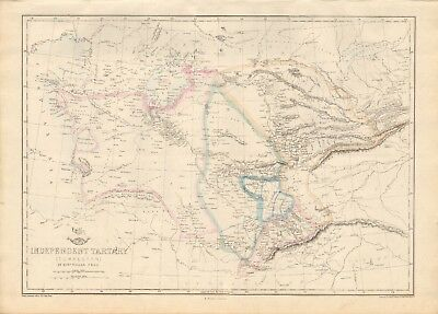 1863  LARGE ANTIQUE MAP - DISPATCH ATLAS- INDEPENDENT TARTARY, TURKESTAN