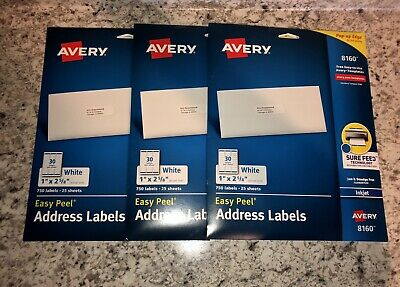 NEW Avery 8160 White Address Labels, 25 Sheets/750 Labels, Set of 3 Packs