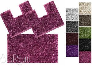 Set tappeti bagno tris antiscivolo vari colori doccia bidet water shaggy sarani ebay - Set tappeti per bagno ...
