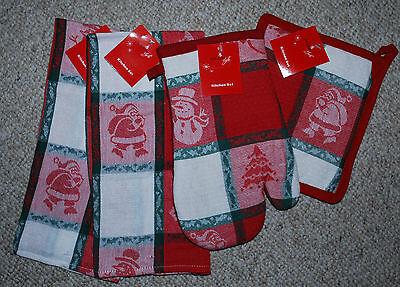 SET 4 CHRISTMAS KITCHEN DISH TOWELS/MITT/POTHOLDER/SANTA PRI