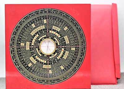 Vintage Chinese Wood & Brass Feng Shui Compass Circa 1960s Never Used