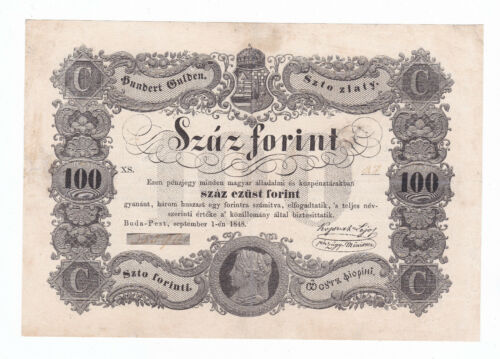 Hungary 100 Forint/Gulden/Zlaty 1848 F