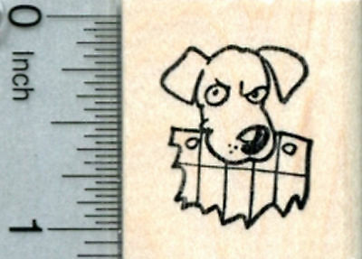 Dog Rubber Stamp, Eating Homework D31611 WM