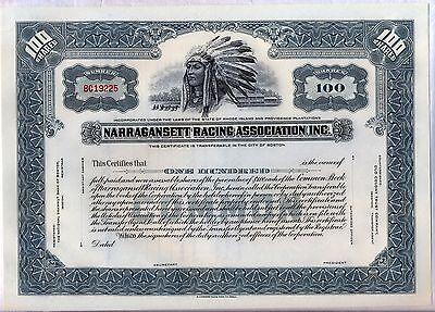 Narragansett Racing Association Inc. Stock Certificate Rhode Island Horse Grey