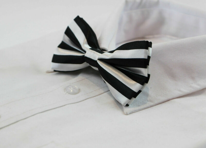 Mens Black And White Horizontal Striped Bow Tie Pre-tied Bowtie Wedding Formal