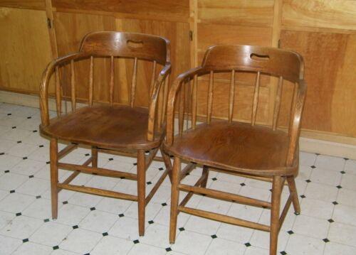Vintage Matched Pair Oak Railroad Caboose Chairs Captain Saloon Pub Barrel Back