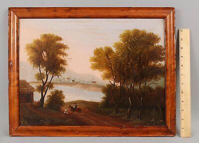 Antique 19thC Folk Art Oil Painting Log Cabin Horse Town & American Flag