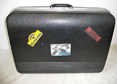 Vintage Großer SAXOLINE Koffer schwarz mit Stickern Hartschalenkoffer
