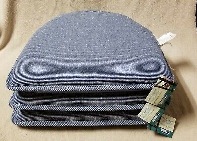 """Set of 3 KLEAR-VU The Gripper 15"""" CHAIR CUSHIONS Light Blue Ribbed NEW w/ Tags"""