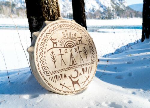 Shaman drum tambourine Siberian authentic round 50 cm in diameter cave draw