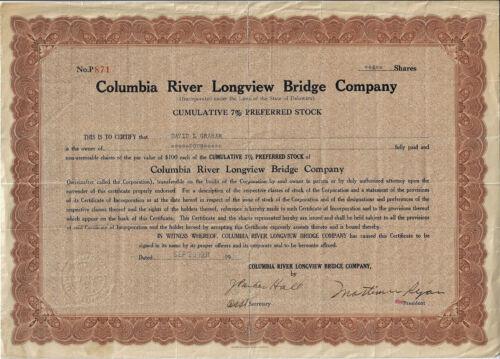 OREGON WASHINGTON 1931 Columbia River Longview Bridge Co Stock Certificate