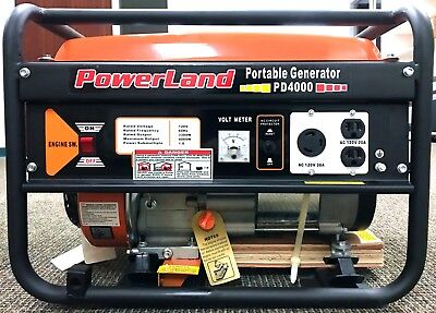 PowerLand PD4000 4000 Watt Pull Start Gas Generator 7.5HP