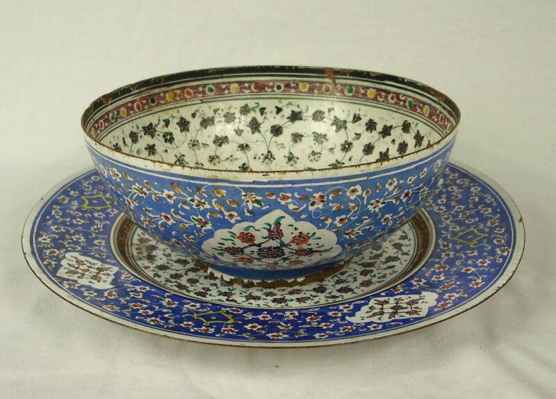 Bowl & Saucer Enamel Work Iranian Signed Minaee Ispahan