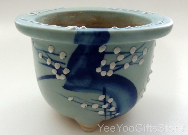 OLD & RARE Porcelain CELADON Japanese DOGWOOD Bonsai/Suiban Tripod POT/Planter
