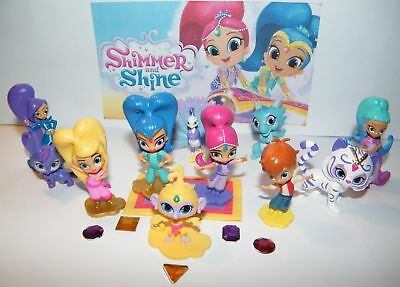 Nick Jr. Shimmer and Shine Figure Set of 12 w/ Leah, Zac, Zeta and 5 Genie Gems