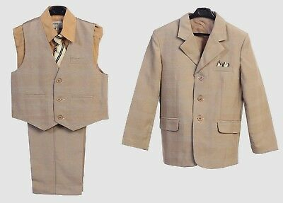 Boys Suit Toddler Kids Boys Dress 5 Pcs Graduation Wedding Vest Suit Khaki New S