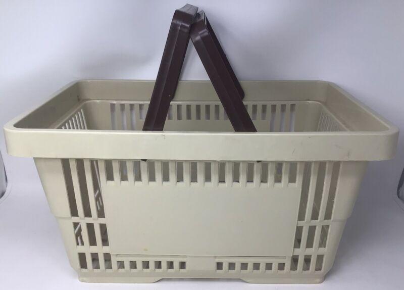 "Tan Shopping Basket Plastic Retail Merchandise 12"" x 17"" Supermarket Handles"