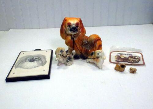 LOT VTG Pekingese Dog Items Mother & Puppies Figurine Earl Sherwan Print & Patch