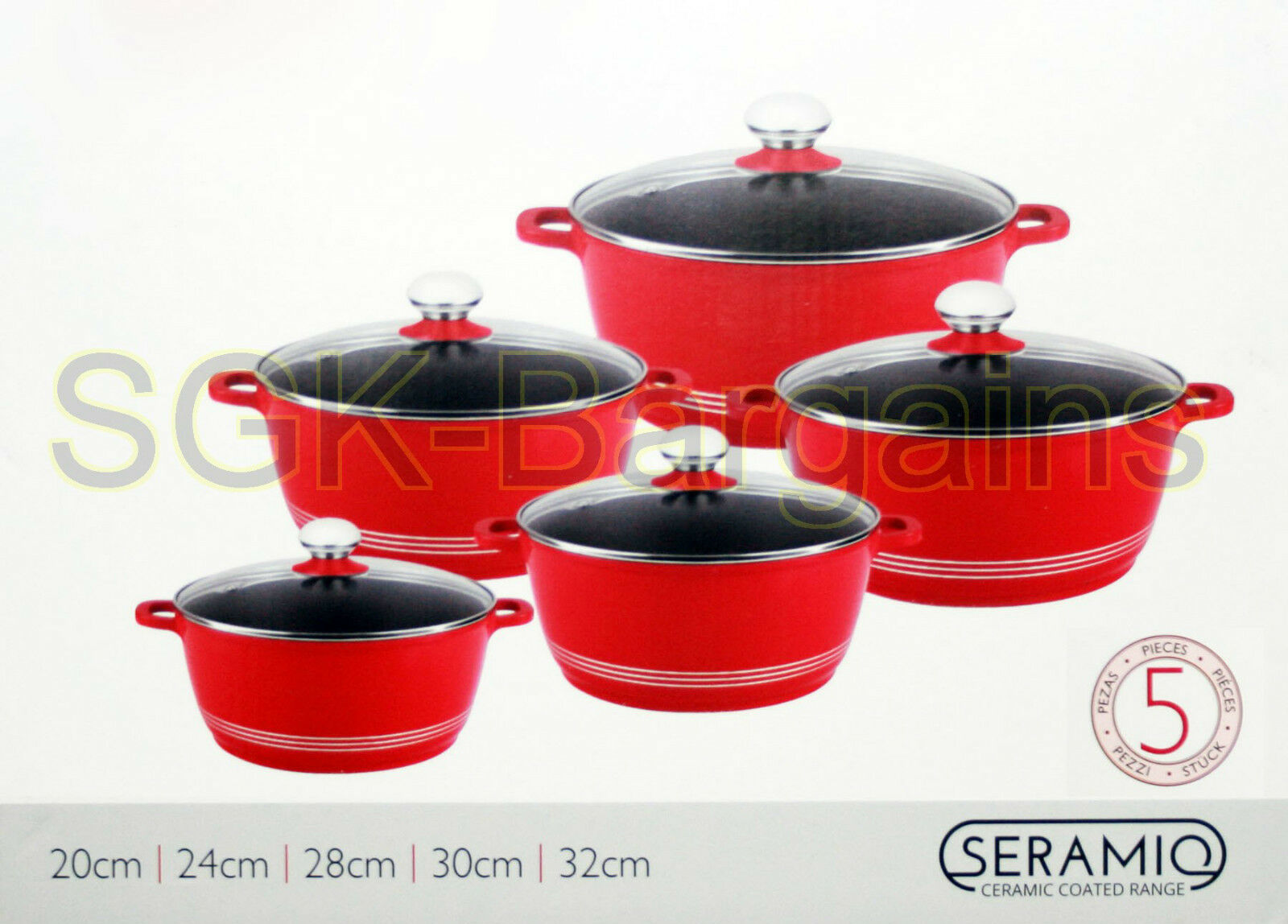 induction cookware 5pc non stick ceramic coated die cast. Black Bedroom Furniture Sets. Home Design Ideas