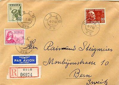 NORWEGEN 1948 Mischfrankatur R-LupoBrief i.d. Schweiz, 2 verschiedene OSLO Stpl. gebraucht kaufen  Fürth