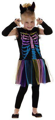 Skelett Kostüm + Handschuhe Gr. 98 104 110 - Skelett Kostüm Mädchen