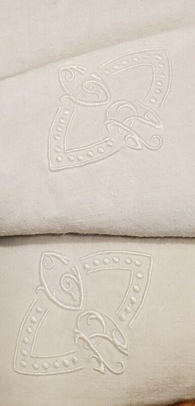 2 VTG PR LARGE Square EUROPEAN Linen BED Pillow Sham Embroidered MONOGRAM C R