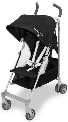 Maclaren Baby Globetrotter Lightweight Reclining Single Stroller Black/White - White Lightweight Stroller
