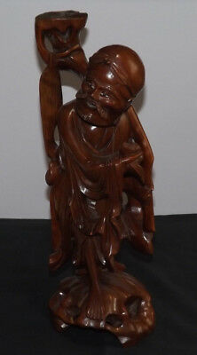 Antique Vintage Chinese Old Man Red Wood Hand Carved figurine Ornament 14