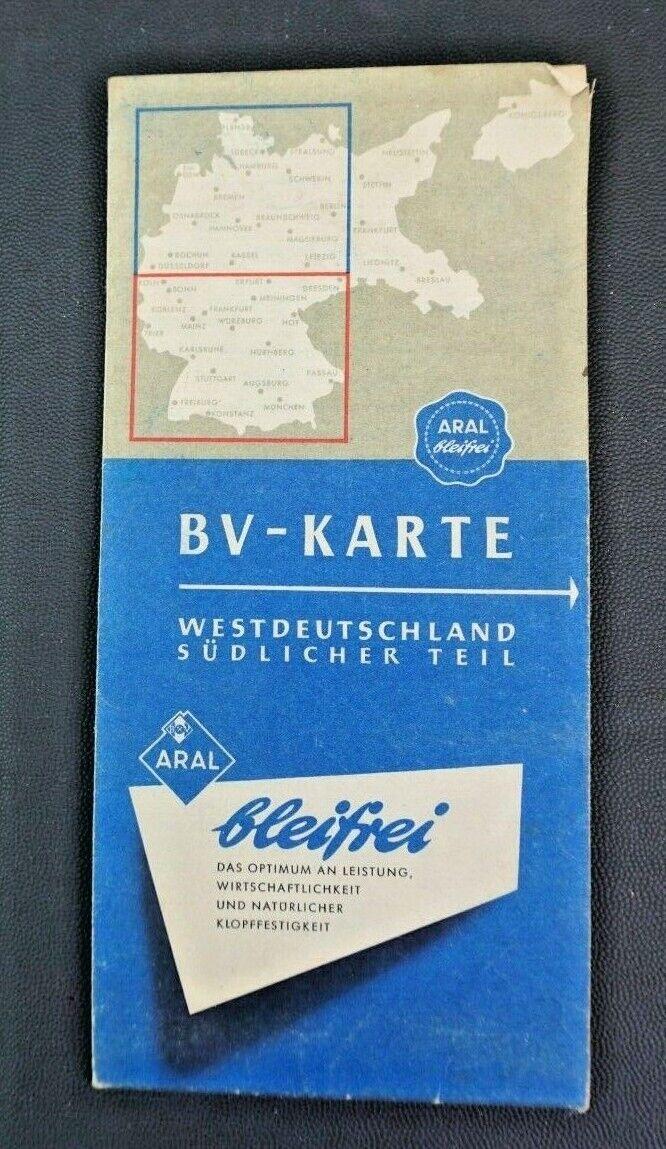 B.V. Aral Karte Westdeutschland Südlicher Teil Straßenkarte Autokarte um 1960